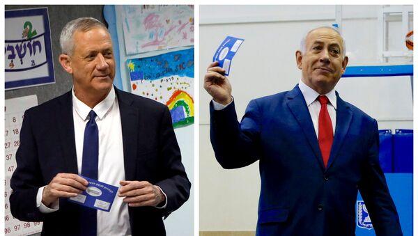 Benny Gantz - Benyamin Netanyahu - Sputnik Türkiye