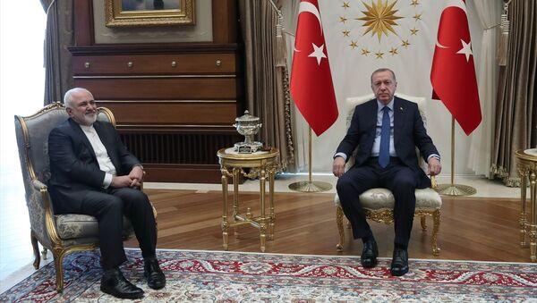 İran Dışişleri Bakanı Cevad Zarif, Cumhurbaşkanı Recep Tayyip Erdoğan ile bir araya geldi. - Sputnik Türkiye