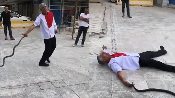 Adana'da birçok kez borç verdiği arkadaşından alacaklarını tahsil edemediği için ilginç eylemlere imza atan zeytinyağı satıcısı Osman Aslan, bu kez de kendisini bir yılana ısırtıp, baygınlık geçirdi. - Sputnik Türkiye