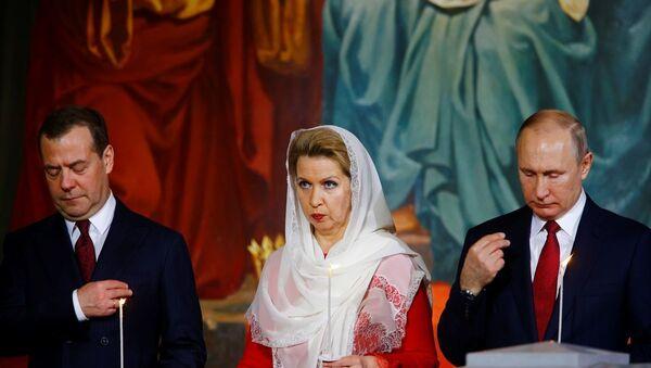 Rusya'nın başkenti Moskova'da, Kurtarıcı İsa Kilisesi'nde Rus Ortodoks Kilisesi Patriği Kiril, Paskalya Bayramı vesilesiyle ayinler yaptı. - Sputnik Türkiye