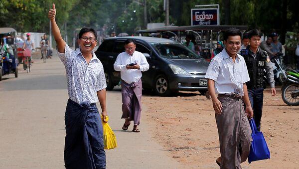 Myanmar'da tutuklu bulunan Reuters muhabirleri Wa Lone ve Kyaw Soe Oo serbest bırakıldı - Sputnik Türkiye