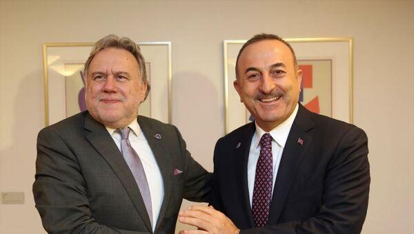 Dışişleri Bakanı Mevlüt Çavuşoğlu, Avrupa Konseyi Bakanlar Komitesi Toplantısı'na katılmak üzere geldiği Finlandiya'nın Başkenti Helsinki'de Yunanistan Dışişleri Bakanı Georgios Katrougalos ile görüştü. - Sputnik Türkiye