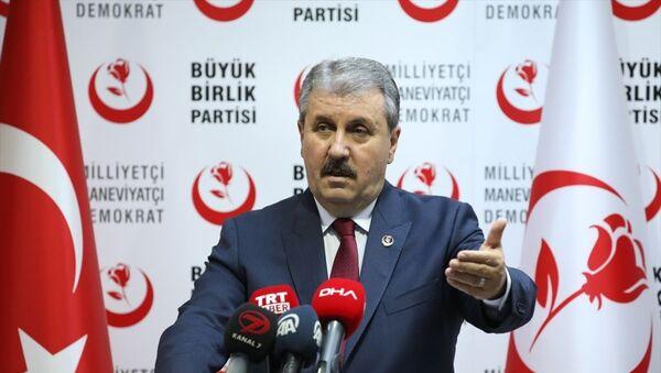 Büyük Birlik Partisi (BBP) Genel Başkanı Mustafa Destici, partisinin genel merkezinde basın toplantısı düzenledi. - Sputnik Türkiye