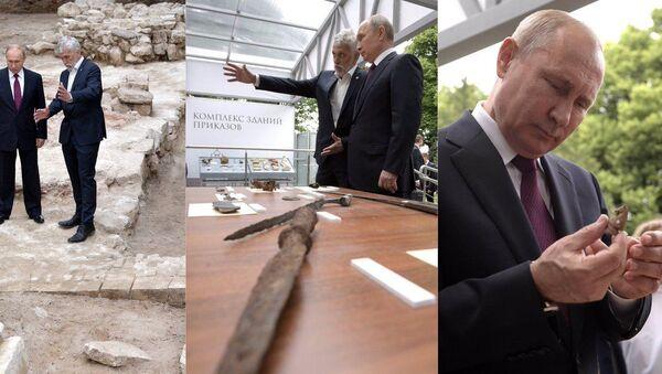 Kremlin'deki kazılarda bulunan bir Fransıza ait kılıç Putin'e gösterildi - Sputnik Türkiye