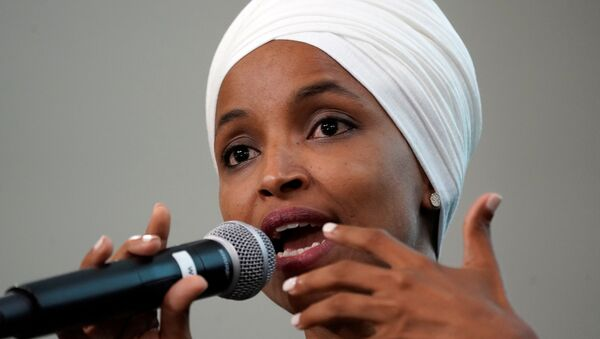 U.S. Rep Ilhan Omar (D-MN) takes part in a discussion on Impacts of Phobia in Our Civic and Political Discourse during the Muslim Caucus Education Collective's conference in Washington, U.S., July 23, 2019.  REUTERS/Kevin Lamarque - Sputnik Türkiye
