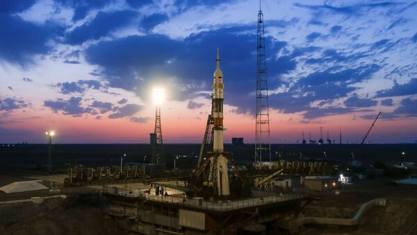 The Soyuz MS-13 spacecraft is set on the launchpad during the sunset at the Baikonur Cosmodrome, July 20, 2019.  - Sputnik Türkiye
