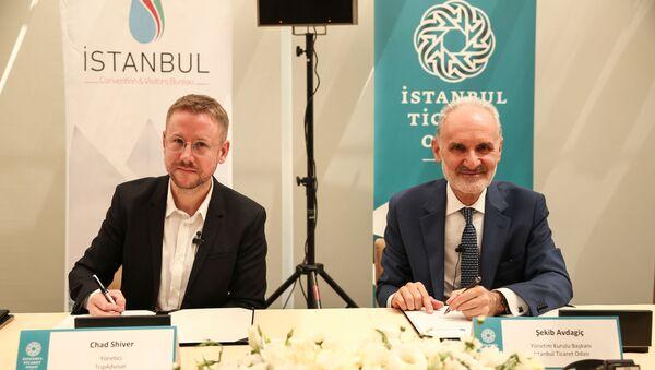 İTO ve ICVB Başkanı Şekib Avdagiç ile TripAdvisor Avrupa, Ortadoğu ve Afrika Yöneticisi Chad Shiver - Sputnik Türkiye