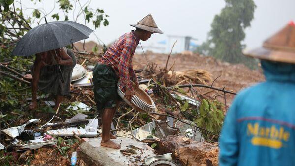 Myanmar'da toprak kayması - Sputnik Türkiye