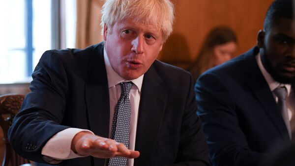 Boris Johnson Downing Street 10 Numara'da yuvarlak masa toplantısında - Sputnik Türkiye