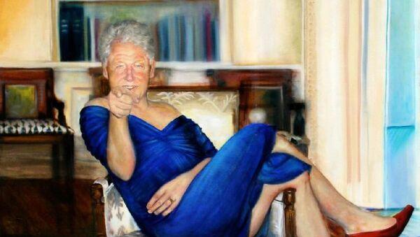 Epstein'in evinde bulunan kadın elbiseli Bill Clinton tablosu - Sputnik Türkiye