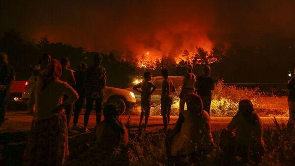 İzmir'deki orman yangını iki mahalleye yaklaştı - Sputnik Türkiye