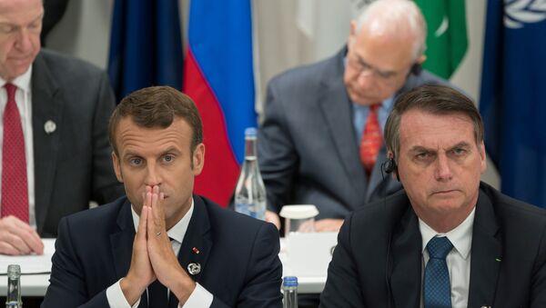 Brezilya Devlet Başkanı Jair Bolsonaro ve Fransa Cumhurbaşkanı Emmanuel Macron - Sputnik Türkiye