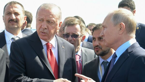 Türkiye Cumhurbaşkanı Recep Tayyip Erdoğan, Rusya'nın başkenti Moskova'daki Jukovskiy Uluslararası Havaalanı'nda düzenlenen MAKS–2019 Uluslararası Havacılık ve Uzay Fuarı'nın açılış törenine katıldı. - Sputnik Türkiye