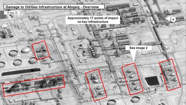 ABD, Suudi petrol devi Aramco'nun iki tesisinde 19 noktanın vurulduğu ve saldırıların batı-kuzey-batı yönünden geldiğine dair uydu görüntüleri yayımladı. - Sputnik Türkiye