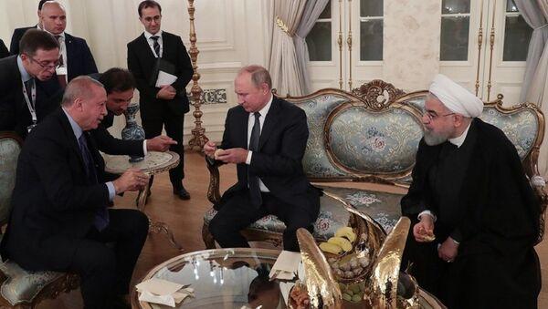 Vladimir Putin - Recep Tayyip Erdoğan - Hasan Ruhani - incir - Sputnik Türkiye