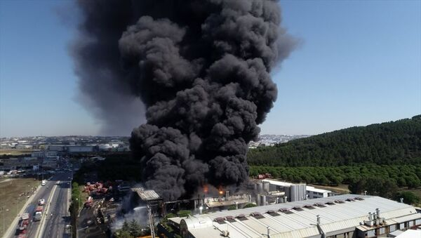 Tuzla'da kimyasal maddelerin üretildiği fabrikada çıkan yangın - Sputnik Türkiye