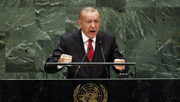 Cumhurbaşkanı Recep Tayyip Erdoğan BM Genel Kurulu'nda konuştu. - Sputnik Türkiye