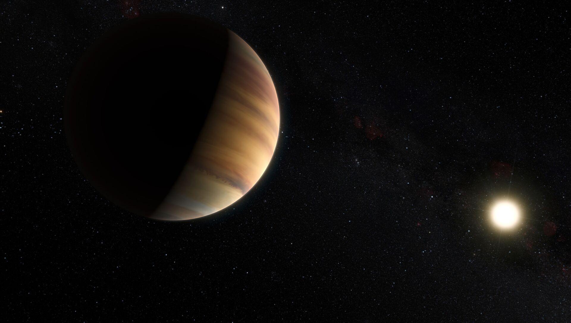 Prof. Michel Mayor ve Prof. Didier Queloz 1995 yılında, 50 ışık yılı uzaktaki bir yıldızın yörüngesinde dönen '51 Pegasi b' adlı dev gaz kütlesini keşfetti. '51 Pegasi b', Güneş Sistemi'nin dışında bir cüce yıldız etrafında keşfedilen ilk gezegen oldu. - Sputnik Türkiye, 1920, 06.07.2021