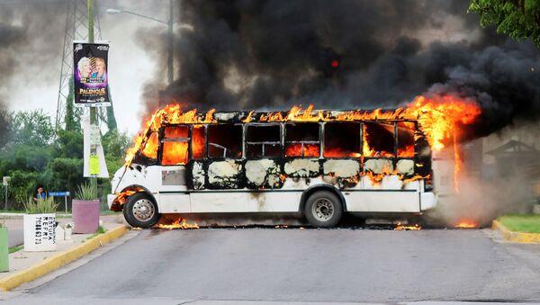 Ovidio Guzman Lopez'in yakalanması üzerine güvenlik güçleriyle çatışma başlatan kartel üyelei, ateşe verdikleri araçlarla yolları kapattı. - Sputnik Türkiye