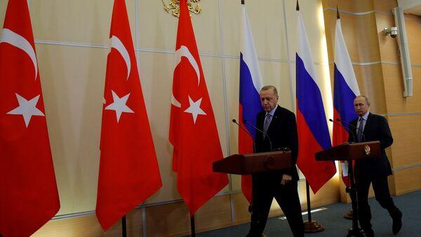 Putin ile Erdoğan'ın salona girdiği anlar objektiflere böyle yansıdı. - Sputnik Türkiye