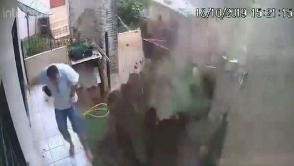 Brezilya'da bir adam, bahçesindeki hamam böceklerini öldürmek isterken bahçesini havaya uçurdu. Evin güvenlik kameraları, patlama anını saniye saniye görüntüledi. - Sputnik Türkiye
