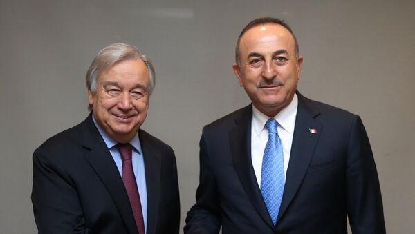 Dışişleri Bakanı Mevlüt Çavuşoğlu, Birleşmiş Milletler (BM) Genel Sekreteri Antonio Guterres - Sputnik Türkiye