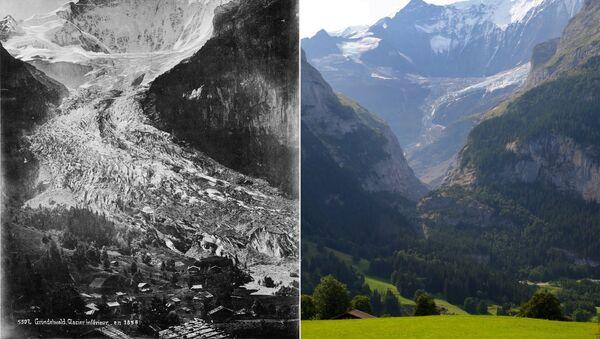 İsviçre Alpleri'nde eriyen buzullar - Sputnik Türkiye