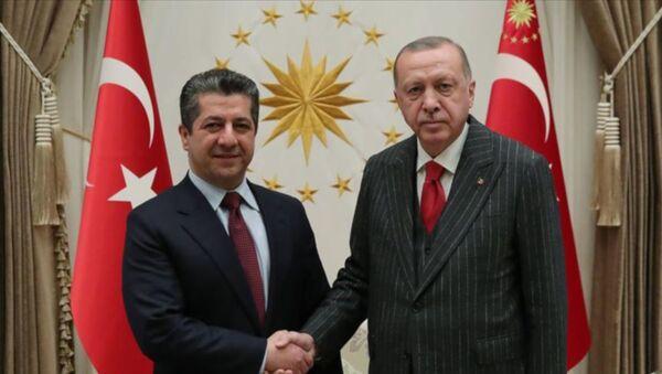 Türkiye Cumhurbaşkanı Recep Tayyip Erdoğan, Irak Kürt Bölgesel Yönetimi (IKBY) Başbakanı Mesrur Barzani'yi kabul etti. - Sputnik Türkiye