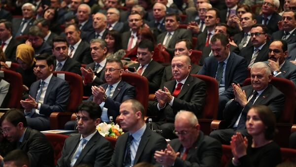 Türkiye Cumhurbaşkanı Recep Tayyip Erdoğan, Beştepe Millet Kongre ve Kültür Merkezi'nde Sürgünün 75. Yılında Ahıska Türkleri Anma Programına katıldı. - Sputnik Türkiye
