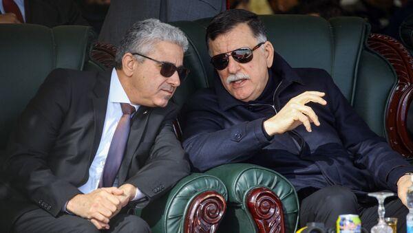 Libya Ulusal Mutabakat Hükümeti (UMH) Başkanlık Konseyi Başkanı Fayiz es Serrac ve İçişleri Bakanı Fethi Başağa - Sputnik Türkiye