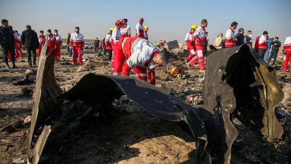 İran Kızılayı çalışanları Tahran'da düşen Ukrayna yolcu uçağının enkazında incelemelerde bulunurken - Sputnik Türkiye