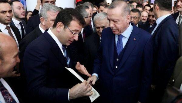 İstanbul Büyükşehir Belediye Başkanı Ekrem İmamoğlu'nun Cumhurbaşkanı Recep Tayyip Erdoğan - Sputnik Türkiye
