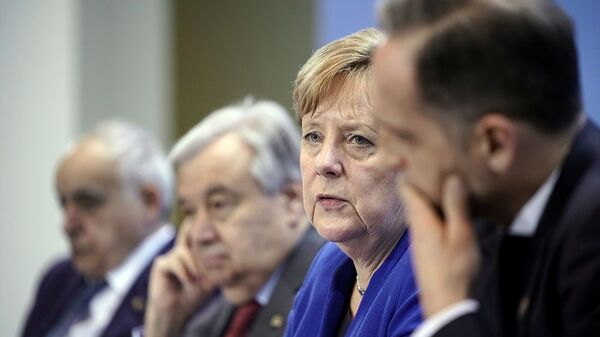 Berlin'deki Libya Konferansı (sırasıyla) BM Libya Temsilcisi Salame, BM Genel Sekreteri Guterres, Almanya Başbakanı Merkel, Almanya Dışişleri Bakanı Maas. - Sputnik Türkiye