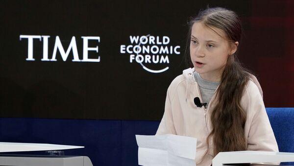 İsveçli iklim aktivisti Greta Thunberg,  50.'si düzenlenen Dünya Ekonomik Forumu'nda konuştu. - Sputnik Türkiye