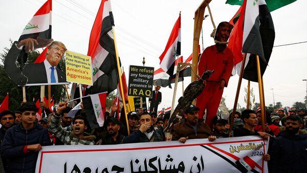 Bağdat'ta Sadr yanlılarından ABD'ye karşı gösteri - Sputnik Türkiye