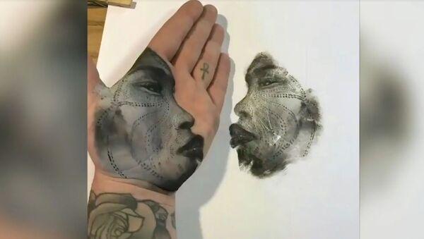 Kaliforniyalı sanatçı, avuç içiyle tablolar yapıyor - Sputnik Türkiye