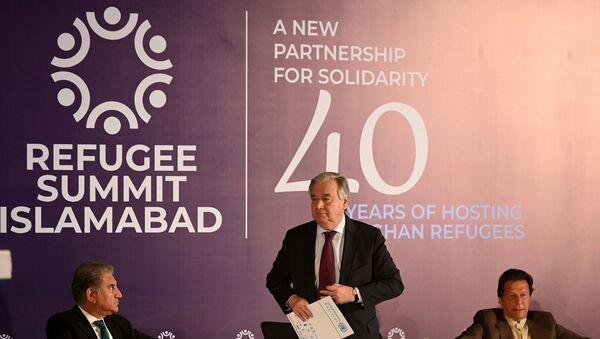 Antonio Guterres - Pakistan Başbakanı İmran Han -  Pakistan Dışişleri Bakanı Şah Mahmud Kureyşi - Sputnik Türkiye