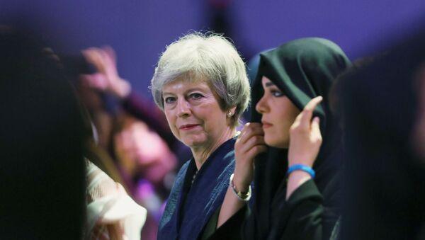 Britain's former Prime Minister Theresa May attends the Global Women's Forum in Dubai, United Arab Emirates, February 16, 2020. REUTERS/Christopher Pike - Sputnik Türkiye
