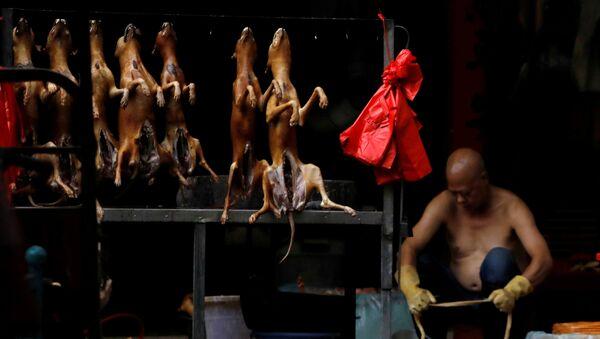 Çin'in Guangksi eyaletinin Yulin şehrindeki bir pazar yerinde kesimi yapılmış köpek eti tezgahı  - Sputnik Türkiye