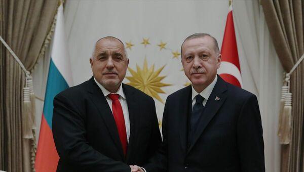 Türkiye Cumhurbaşkanı Recep Tayyip Erdoğan, Cumhurbaşkanlığı Külliyesi'nde Bulgaristan Başbakanı Boyko Borisov ile bir araya geldi. - Sputnik Türkiye