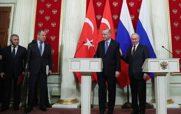 Moskova'daki zirve, Recep Tayyip Erdoğan-Vladimir Putin - Sputnik Türkiye