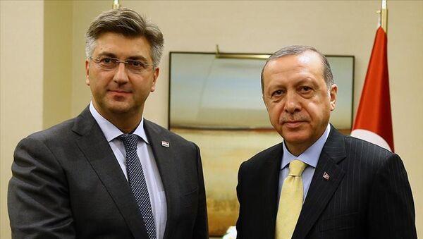 Andrej Plenkovic-Recep Tayyip Erdoğan - Sputnik Türkiye