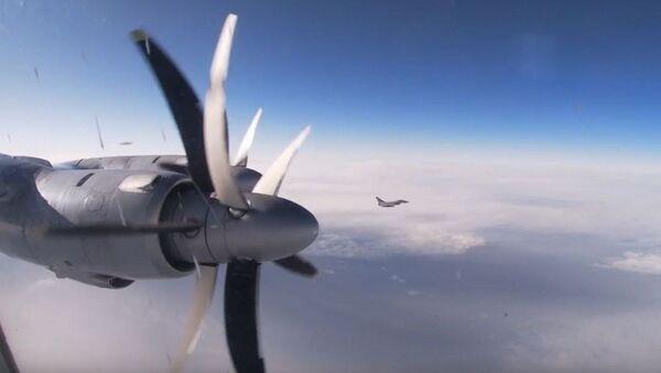 Tu-142 uçaklarının Kuzey Buz Okyanusu üzerindeki uçuşları görüntülendi - Sputnik Türkiye
