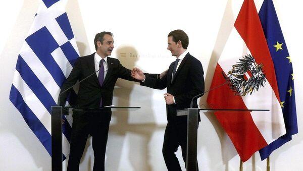 Yunanistan Başbakanı Kiryakos Miçotakis  - Avusturya Başbakanı Sebastian Kurz - Sputnik Türkiye