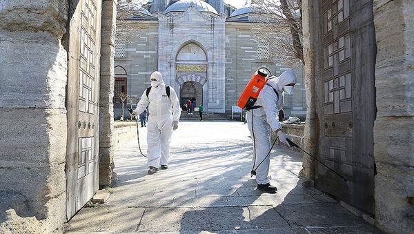 Selimiye Camisi koronavirüs tehlikesine karşı dezenfekte edildi - Sputnik Türkiye