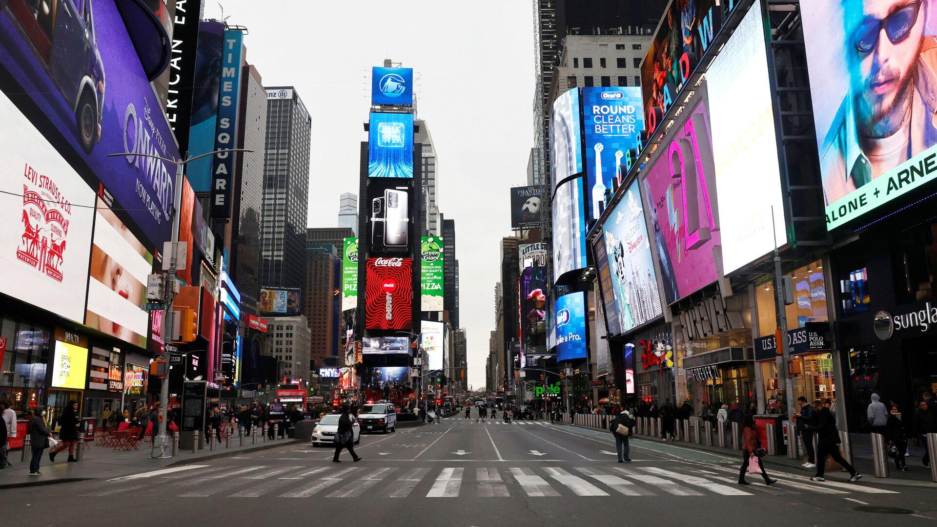 ABD'nin New York şehrindeki ünlü Times Meydanı, koronavirüs tedbirlerinin ardından boşaldı - Sputnik Türkiye, 1920, 22.04.2021