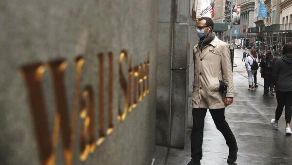 Koronovirüs zamanlarında Wall Street manzarası, New York, ABD - Sputnik Türkiye
