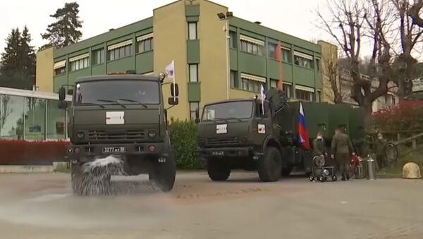 Rus askeri uzmanlar İtalya'da dezenfeksiyon çalışmalarına devam ediyor - Sputnik Türkiye