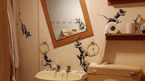 Efsanevi sokak sanatçısı Banksy, son eserini karantina altındayken yarattı. - Sputnik Türkiye