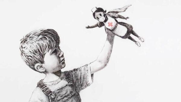 Sokak sanatçısı Banksy, İngiltere'deki Southampton General Hastanesi'ne, salgınla mücadele eden sağlık çalışanlarını süper kahraman gibi resmettiği bir eserini hediye etti. - Sputnik Türkiye
